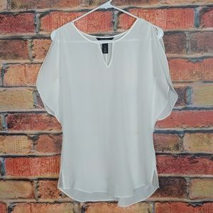White House Black Market pop over silk blouse